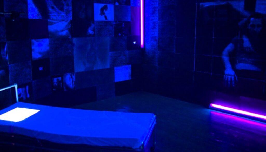 Neon lights in a room