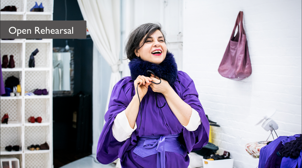 Smiling woman in purple